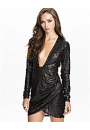 Low Front Sequins Kjole