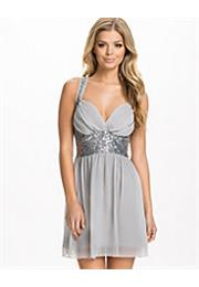 Sequin Stone Cross Back Mini Chiffon Kjole